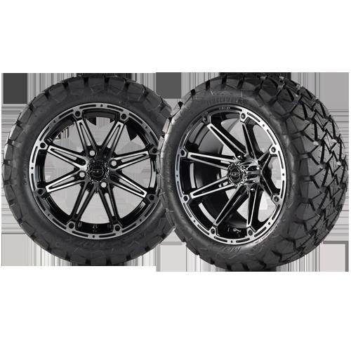 TRANSFORMER 14x7 Machined Black w/ 22x10x14 Timber Wolf A/T Tire