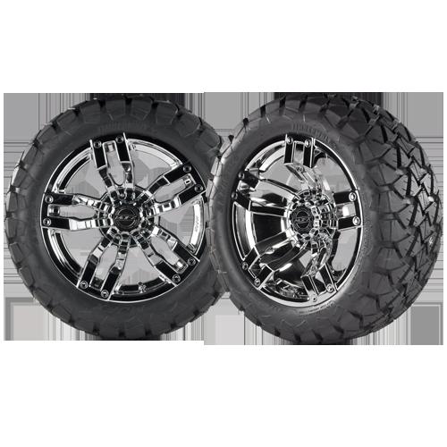 VELOCITY 14x7 Chrome w/ 22x10x14 Timber Wolf A/T Tire