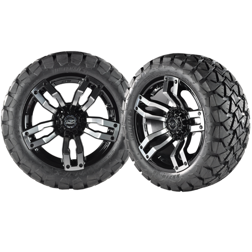VELOCITY 14x7 Machined Black w/ 22x10x14 Timber Wolf A/T Tire
