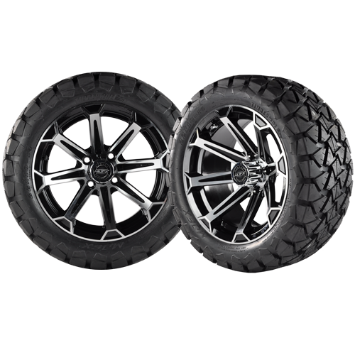 VORTEX 14x7 Machined Black w/ 22x10x14 Timber Wolf A/T Tire