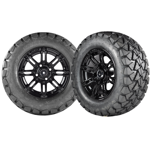 Illusion 12x7 black wheel no inserts with a 22x10x12 Timber Wolf A/T Tire