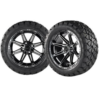 TRANSFORMER 14x7 Machined Black w/ 22x10x14 Timber Wolf A/T Tire