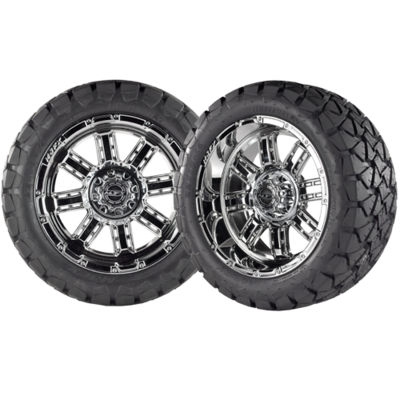 TRANSFORMER 14x7 Chrome w/ 22x10x14 Timber Wolf A/T Tire