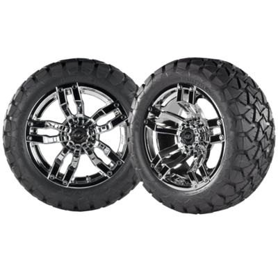 VELOCITY 14x7 Chrome w/ 22x10x14 Timber Wolf A/T Tire