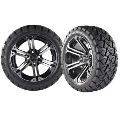 NITRO 14x7 Machined Black w/ 22x10x14 Timber Wolf A/T Tire