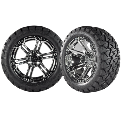 NITRO 14x7 Chrome w/ 22x10x14 Timber Wolf A/T Tire