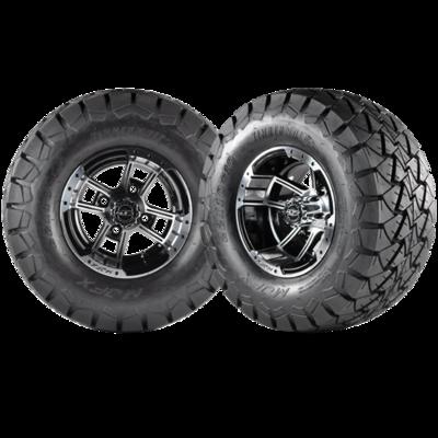 APEX 10x7 Machined Black w/ 22x10X10 Timber Wolf A/T Tire