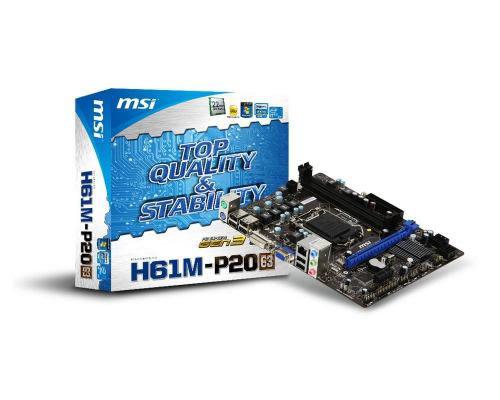 tarjeta madre msi lga1155 h61m-p20 (g3) 2ddr3 1333/1066 dc max 16gb x16 x1 4sata2 sonido 7.1 8canales alc887 red 10/100 8105e 6usb2.0 ps/2 vga dvi-d 24+4pin