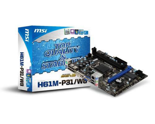 msi lga1155 h61m-p31/w8 2ddr3 1333/1066 dc max 16gb x16 3.0 x1 2.0 4sata2 sonido 7.1 red giga 8usb 2ps2 vga dvi comparte hasta 1759mb