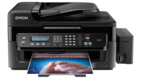 multifuncional Epson l555 5760x1440 33/15ppm negro/color usb2.0 802.11bgn iprint2.0 1bot. neg. 3 bot. color (cian magenta y amarilla) 70ml gar.lim. 1a�o/15k h. fax mem. 180h escaner 600x1200 adf 30copiadora 20copias c11cc96201