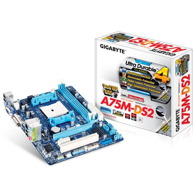 tarjeta madre gigabyte amd fm1 ga-a75m-ds2 2x ddr3-2400(oc)/1866/1600/1333/1066 dc max 64gb x16 2.0 x1 2.0 pci son.7.1 apu red giga 4usb3 8usb2 ps/2 vga dvi