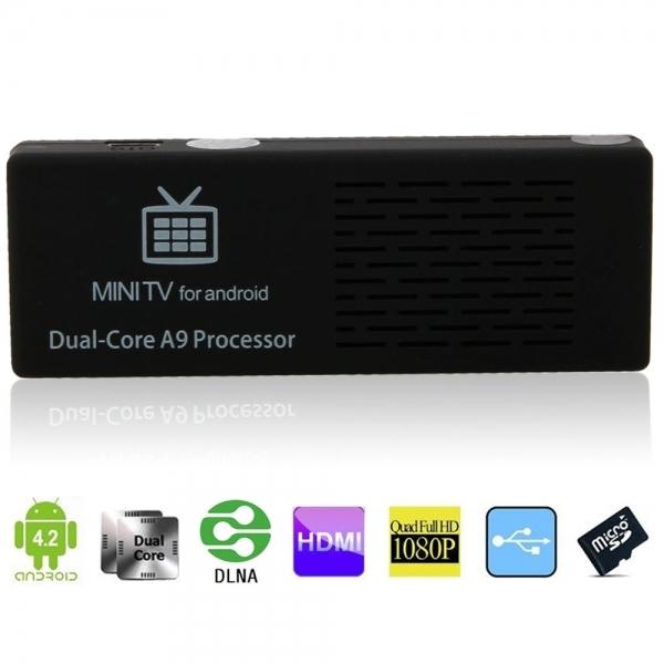 mini pc tv dongle bluetooth mk808bii android 4.2 dual core rk3066 8gb wi-fi 802.11bgn otg soporta micro sd hasta 32gb color negro