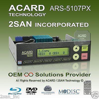 tarjeta controladora quemador multiple 1-a-7 acard ars-5107px sata-a-sata bd/dvd/cd risc 32b 16k cache 10 canales sata lcd 2x16 9 botones 512kb 814354010925