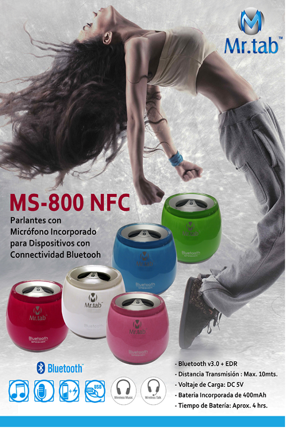 PARLANTES BLUETOOTH V.3.0 + EDR MR.TAB MS-800 NFC WHITE / BLANCO MAX 10M 400MAH MAX 4HORAS DC 5V