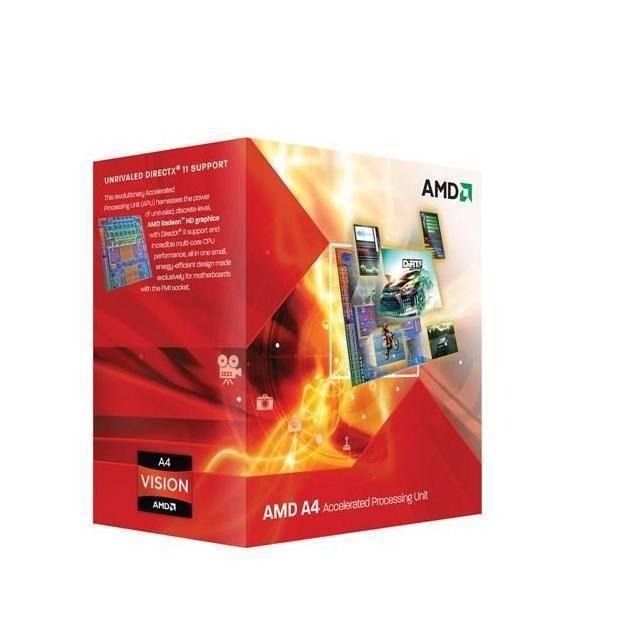 PROCESADOR AMD FM1 A4-3300 2.5GHZ 2CORE 2THREADS APU RADEON HD6410D GBF 443MHZ 160 STREAM 1MB CACHE L2 32NM 65W AD3300OJGXBOX