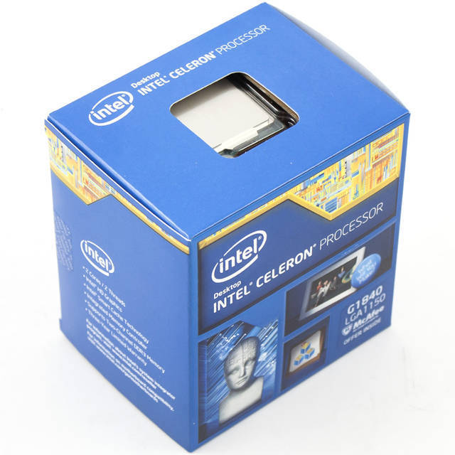 PROCESADOR INTEL LGA1150 CELERON G1840 HASWELL 2.8GHZ VIDEO HD 350MHZ GBF MAXIMO DINAMICA 1.05GHZ MAX 3PANTALLAS 2CORES 2THREADS 2MB CACHE 22NM 5GT/S 54W MULTIPLICADOR 28X MAX 32GB DC 1333 21.3GB/S BX80646G1840
