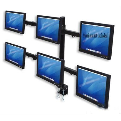 SOPORTE 6 MONITORES LCD 20IN HLATER HEX STAND DESK CLAMP 75 X 75 MM / 100 X 100 MM VESA
