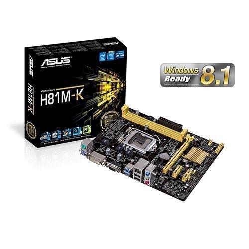 TARJETA MADRE ASUS LGA1150 H81M-K 2DDR3 1600/1333/1066 DC MAX 16GB X16 2X1 2SATA3 2SATA2 RED GIGA REALTEK RTL8111G 2USB3 2USB 2PS2 VGA DVI