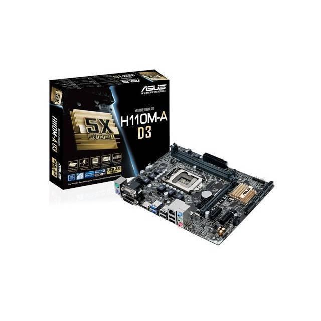 TARJETA MADRE ASUS LGA1151 H110M-A D3 2DDR3 1866(O.C.)/1600/1333 MAX 32GB X16 3.0 2X1 2.0 4SATA3 8CH RED GIGA 4USB3 6USB2 2PS2 VGA DVI-D HDMI 24PIN EATX 4PIN ATX 12V