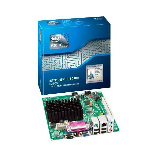 TARJETA MADRE INTEL ATOM DUAL CORE D2500 1.86GHZ INTEGRADO BOXD2500HN SODIMM 2DDR3 1066/800MHZ MAX 4GB GMA 3600 PCI 2SATA SONIDO 4CH RED GIGA 82574L 4USB PS2 VGA PARALELO CONECTOR RS232C 9PIN RS232C INTERNO 4USB INTERNOS