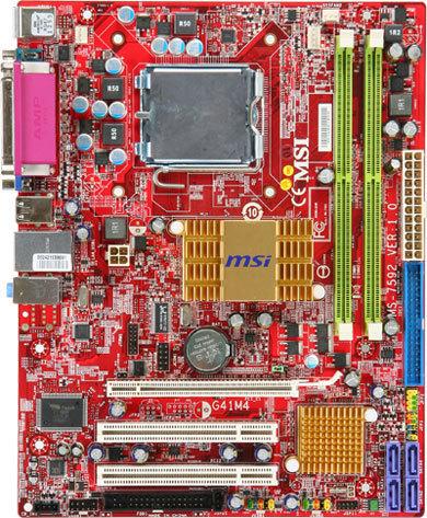 tarjeta madre msi lga775 intel g41m4-l c2q c2d fsb 1333/1066/800mhz 2xddr2 800/667 max 8gb x16 2pci ide 4sata2 video sonido 7.1 realtek alc888s red 10/100 6usb2.0 vga serial paralelo 24+4p 7592-030