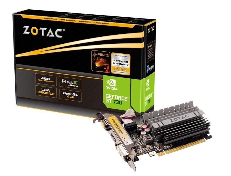 TARJETA VIDEO PCIE X16 2.0 ZOTAC GEFORCE GT 730 ZON 902MHZ 4GB DDR3 64-BIT 384 CORE 2560X1600 VGA DVI-D HDMI ZT-71115-20L