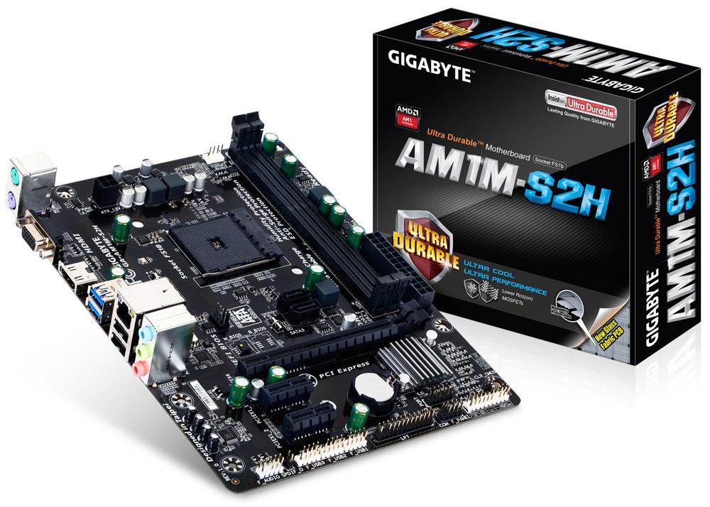 TARJETA MADRE GIGABYTE AMD AM1 GA-AM1M-S2H 2DDR3 1.5V 1600/1333MHZ MAX 32GB RED GIGA X16 AT X4 2X1 2SATA3 SONIDO 7.1CH 2USB3.0 8USB2.0 VGA HDMI 2PS2