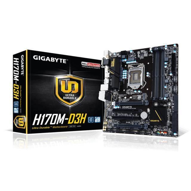 TARJETA MADRE GIGABYTE LGA1151 GA-H170M-D3H 4DDR4 2133 DC MAX 64GB 2X16 3.0 1 A X4 2PCI 2-WAY CROSSFIREX 6SATA3 RAID 0/1/5/10 2SATA EXPRESS M.2 8CH RED GIGA 8USB3 6USB2 1PS2 VGA DVI-D HDMI 24PIN EATX 8PIN ATX 12V