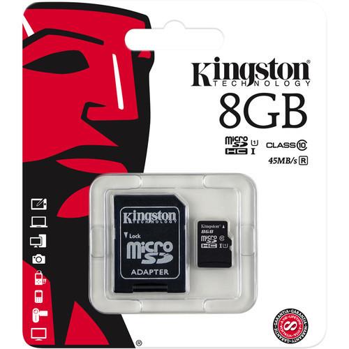MEMORIA MICRO SDHC SECURE DIGITAL KINGSTON 8GB SDC10G2/8GB CLASE 10 UHS-I 10MB/S ESCRITURA 45MB/S LECTURA CON 1 ADAPTADOR SD