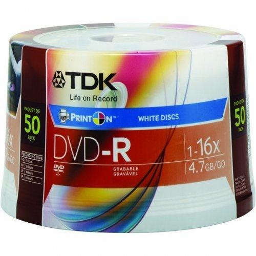 DVD SPINDLE 50 UNIDADES -R 16X TDK 4.7GB UN SOLO LADO WHITE INKJET IMPRIMIBLE 48674