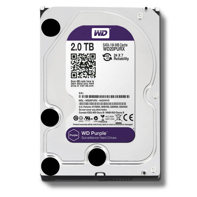 DISCO DURO WESTERN DIGITAL SATA3 3.5IN 2TB INTELLIPOWER 64MB CACHE WD20PURX OPTIMIZADO PARA 32 CAMARAS HD PURPURA