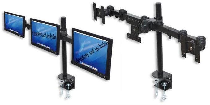 SOPORTE METALICO PARA 3 MONITORES LCD 14-22IN HASTA 22LB C/U LCD-193B