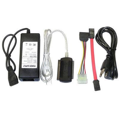 ADAPTADOR USB2.0 A SATA/IDE 2.5/3.5/5.25IN INCLUYE ADAPTADOR CORRIENTE CABLE PODER CABLE DATOS SATA ADAPTADOR MOLEX A SATA DX-ADSI2535
