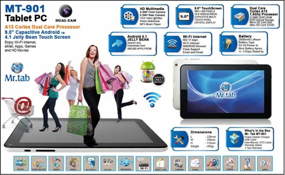 TABLETA 9IN WIFI 8GB MR. TAB MT-901 DC CORTEX A13 1.5GHZ 512MB DDR3 EXP MICROSD 32GB CAMARA 0.3MP F/R 802.11BGN ANDROID 4.1 BLANCA