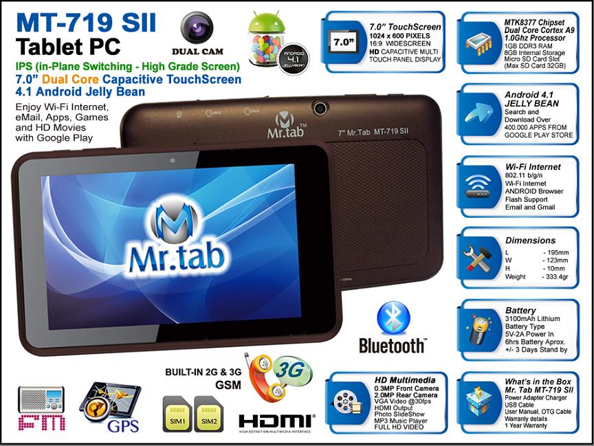 mr.tab 7 wifi 3g doble sim 8gb chocolate
