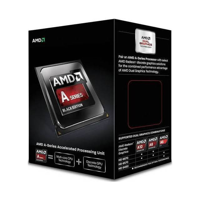 PROCESADOR AMD FM2+ A6-7400K KAVERI 2CORE APU 3500MHZ TURBO 3900MHZ VIDEO RADEON R5 756MHZ MEMORIA DOBLE CANAL DDR3-1866 64BITS 2THREAD 0.032 MICRON 1MB CACHE L2 65W UNLOCKED CLOCK MULTIPLIER AD740KYBJABOX A6-7400K