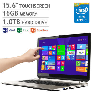 PORTATIL TOSHIBA SATELLITE S55T-B5234 CI7-4710HQ 2.5-3.5GHZ 16GB 15.6IN 1TB TOUCHSCREEN RED 10/100/1000 WIFI 802.11BGN CAM.WEB MICR. LECT.MEM. 2USB3 USB2 HDMI TEC.NUM. W8.1 SATIN GOLD PSPRDU-00D005