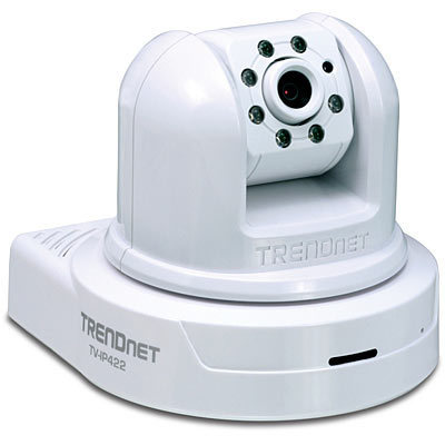 CAMARA IP VIDEO MICROFONO INFRAROJO DIA/NOCHE PARLANTES MOVIMIENTO PAN TILT HORIZONTAL VERTICAL ZOOM 4X TRENDNET TV-IP422