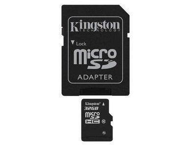MEMORIA MICRO SDHC SECURE DIGITAL KINGSTON 32GB SDC10/32GB 10MB/S MAX 30MB/S CON 1 ADAPTADOR SD
