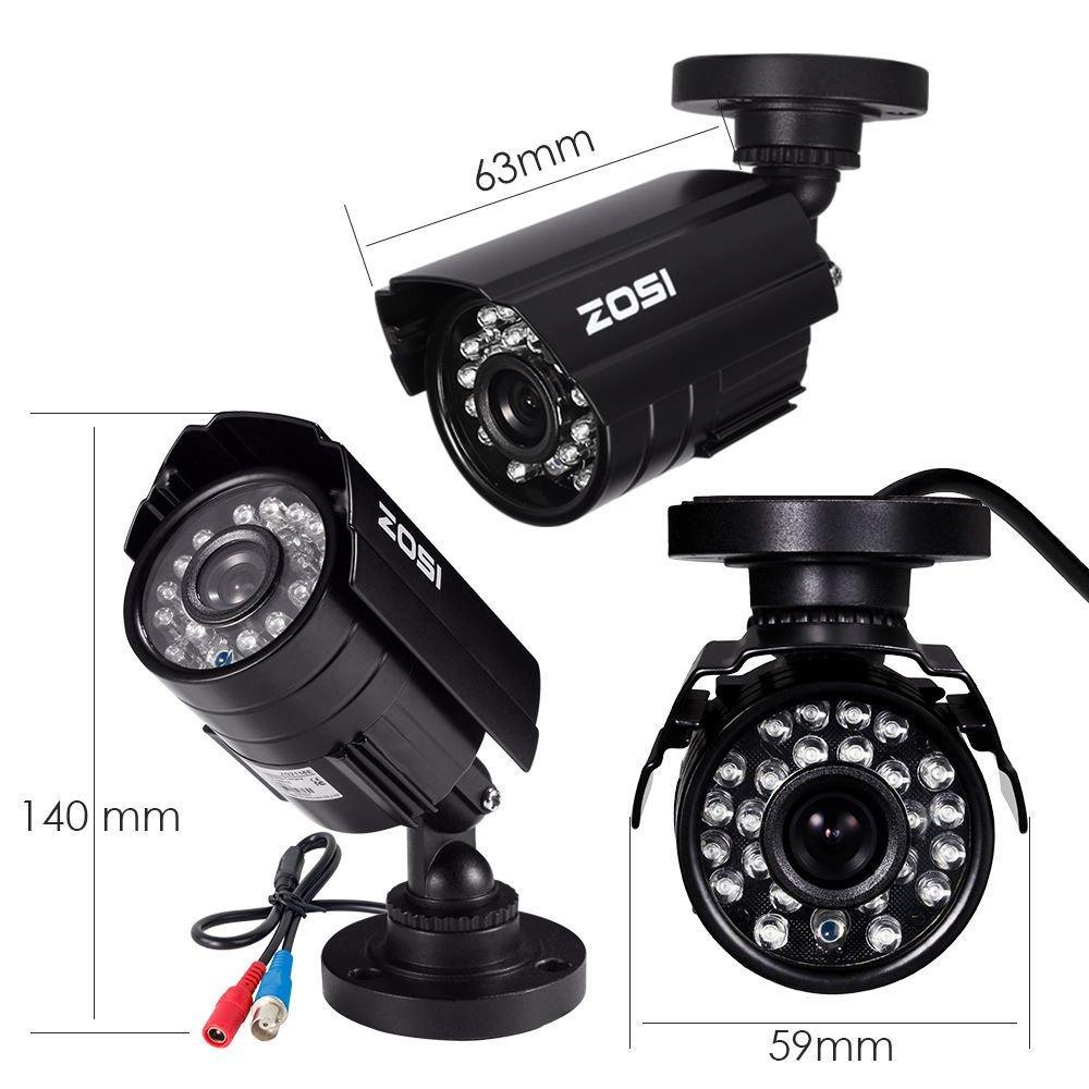 CAMARA CCTV DOMO 3.6MM 90 GRADOS 1500TVL 720P OUTDOOR 960H 24 LED IR HASTA 65FT VISION NOCTURNA IP66 ZOSI BLANCA 8AK-4181N1NW