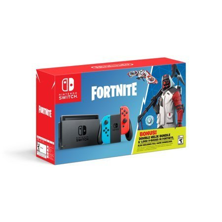 CONSOLA NINTENDO SWITCH FORTNITE DOUBLE HELIX BUNDLE CON CONTROLES NEON BLUE/AZUL Y NEON RED/ROJO HACSAP3C1