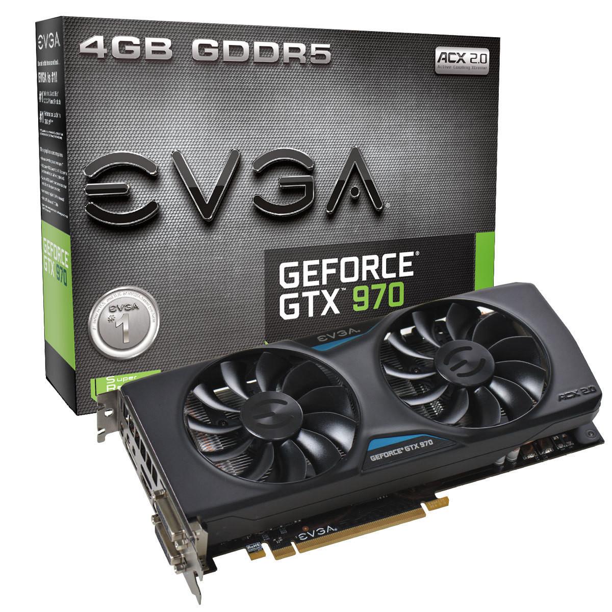 TARJETA VIDEO PCIE X16 3.0 EVGA NVIDIA GEFORCE GTX970 GAMING 1050MHZ BOOST 1178MHZ 1664 CUDA 109GT/S 4GB GDDR5 256-BIT 7010MHZ 224.3GB/S DVI-I DVI-D DISPLAYPORT HDMI SOPORTA 4 MONITORES 240HZ MAX. DIGITAL 4096X2160 MIN. 500W 04G-P4-2972-KR