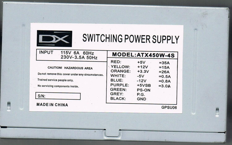 fuente poder 450w 24 pines sata 3 molex atx dx dx-450-1s3t oem tm