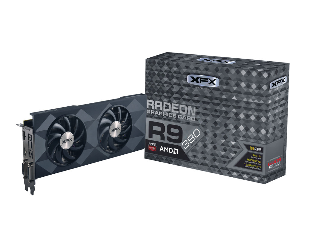 TARJETA VIDEO PCIE X16 3.0 XFX RADEON R9 390 1015MHZ 2560 STREAM 8GB GDDR5 6.0GHZ 512-BIT 2 DL DVI-D DISPLAYPORT HDMI SOPORTA 6 MONITORES MAX. DIGITAL 4096X2160 MIN. 750W R9-390P-8DF6