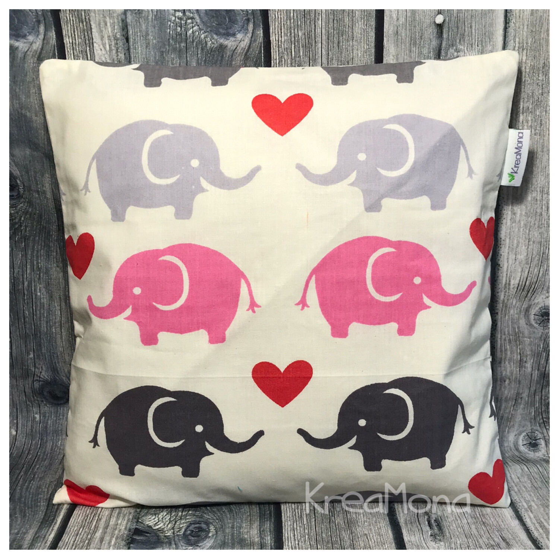 Zirbenkissen Elefant grau/rosa