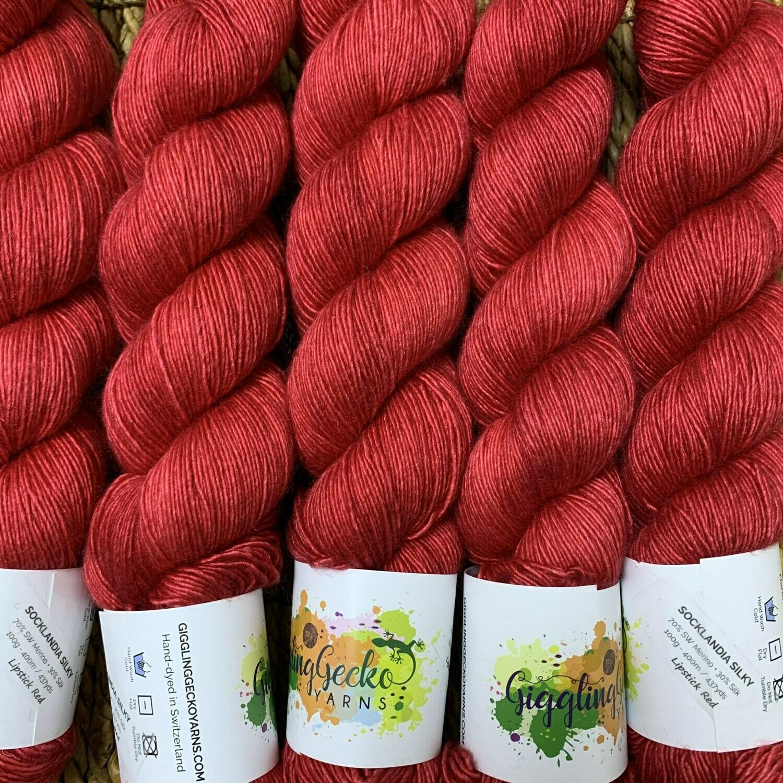 GGY GigglingGecko Socklandia Silky Yarn Lipstick Red