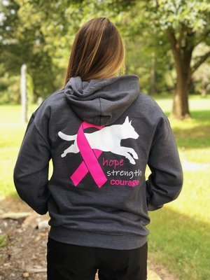 Hoodie - Highland K9 Hope Strength Courage (BCRF) Logo