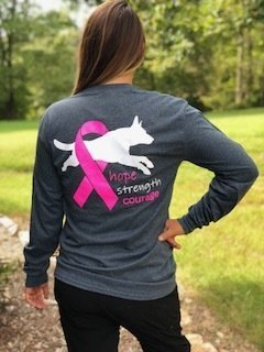 Long Sleeve Shirt - Highland K9 Hope Strength Courage (BCRF) Logo