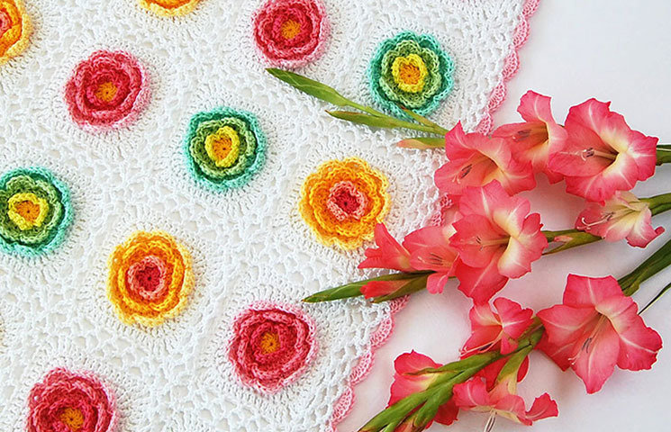 CROCHET PATTERN: Blooming Baby Blanket 00020
