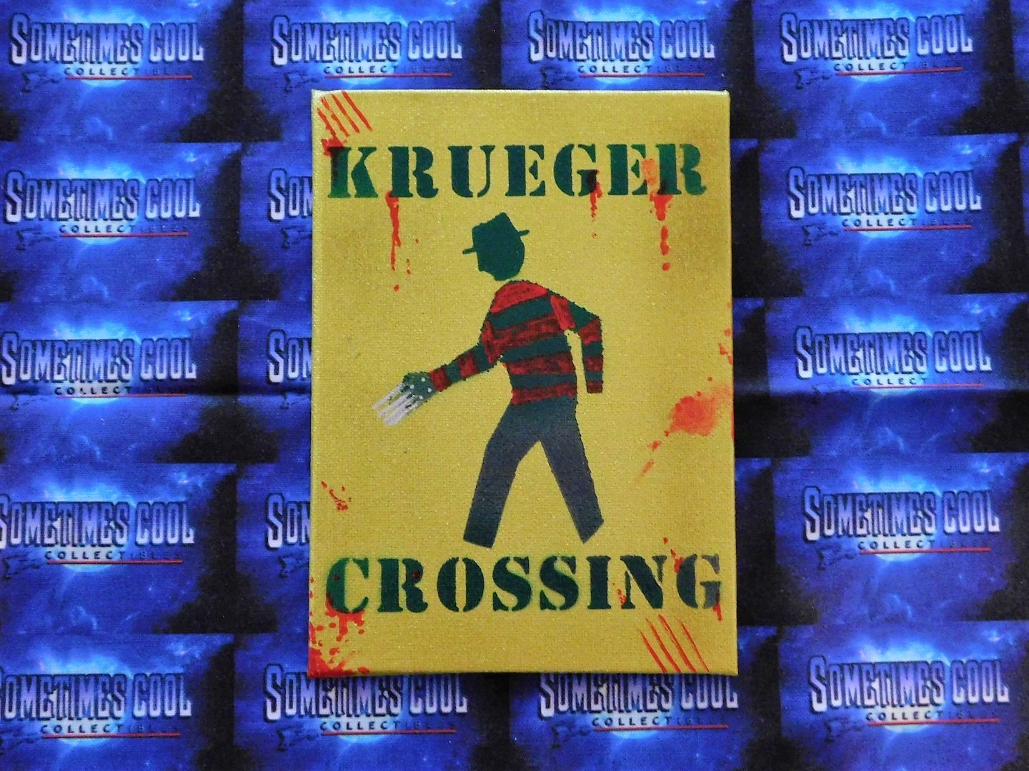 Krueger Crossing : Nightmare On Elm Street Mini Sign (Yellow)